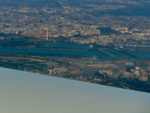 Nice view of the Washington Monument as we make our final approach to DC
