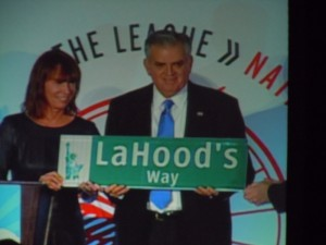 NYC Transportation Commissioner Janette Sadik-Khan presenting Ray LaHood with his own NYC street sign.