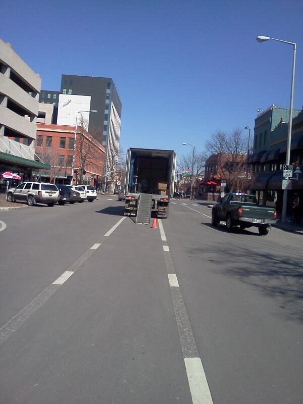 On my commute yesterday, a truck using our center street bike lane as a loading zone.
