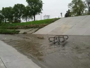 overturned picnic table