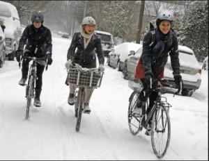 winter bikers